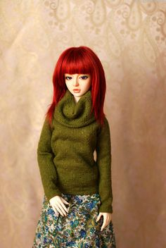 SD Green Cowl Neck Sweater For Ball Jointed by dorsetclothing, $23.00