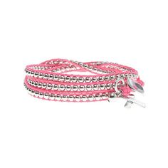 Lane Bryant Women's Combat Cancer  ribbon wrap bracelet ($20) ❤ liked on Polyvore featuring jewelry, bracelets, pink, american jewelry, charm bangle, beads & charms, ribbon jewelry and pink bangles