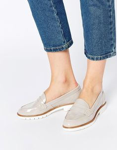 Dune Gleat Grey Patent Chunky Loafer Flat Shoes