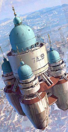 Floating city by Joseph Feinsilver Arte Sci Fi, Sci Fi Kunst, Science Fiction Kunst, Steampunk, Sci Fi City, Futuristic City, Cyberpunk City, Cg Art, Matte Painting
