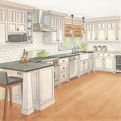 The Custom Kitchen. Better Homes & Gardens. Like the range, microwave placement, subway tiles, and apron front sink!!