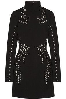 Mugler Eyelet-embellished wool-crepe mini dress | THE OUTNET