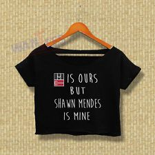 Magcon Crop Top Tee Shawn Mendes is mine  Shirt Womens Adults Croptee croptees