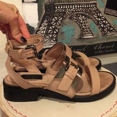 TOPSHOP Premium Nude w Metal Sandals Shoes TOPSHOP Premium Nude Sandals. I love the metal accents. Ankle wrap. Made in Spain size 38. Seldom worn. Excellent condition. Topshop Shoes Sandals