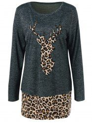 Plus Size Deer Print Panel Tunic T-Shirt - LEOPARD 5XL