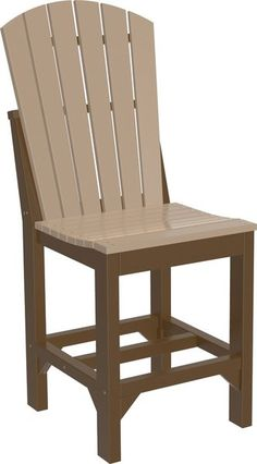 LuxCraft Poly Adirondack Counter Chair Enjoy the comfort of an Adirondack back in this bar chair that loves the outdoors. Made of ultra durable poly. Available in solid and two tone color combos. Add arms and seat cushions if you wish. #dutchcrafters