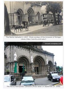 Then and Now – Manila Cathedral (Another View) Philippines Culture, Manila Philippines, University Of Michigan Library, Then And Now Photos, Intramuros, Historical Architecture, Old Buildings, Polaroids, Pinoy