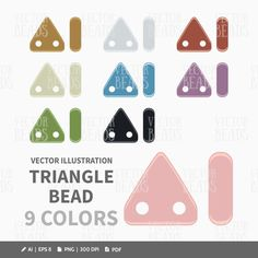CzechMates Two Hole Triangles Clipart Set  Beads by VectorBeads