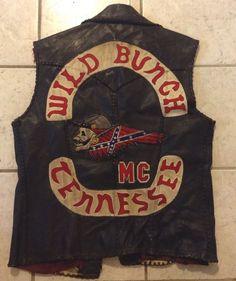 Vintage Outlaw Biker Club Vest 1%er Club Colors Club Cut Wild Bunch TN. MC Gang