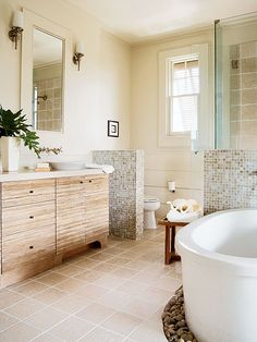 Collection of modern cottage bathrooms.