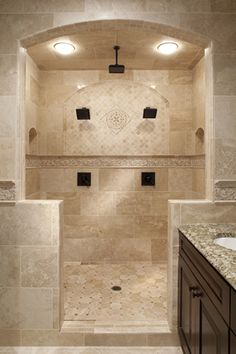 Travertine tile shower STRAIGHT ON BOTTOM, THEN ACCENT LINER, THEN ...