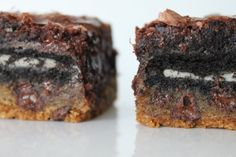 pinterest cookies and bars | Bountiful Kitchen: Chocolate Chip Cookie 'n Oreo Brownie Bars