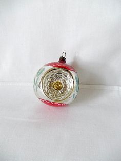 vintage glass ornament 3 indents silver and by vintagebyclaudine, $12.95