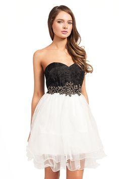 A-Line Sweetheart Beading Sashes Chiffon Long White Black Prom ...