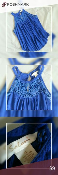 Royal blue crochet top Sleeveless blue top with crocheted detail. Flowy and comfy stylish and beautiful. EUC no snags piling stains tears or fading. Size XL SALONI Tops Blouses