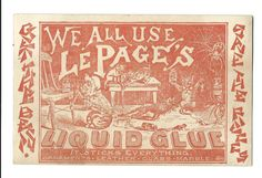 LePage's Liquid Glue - Fish Glue Prepared by Russia Cement Co - No. 127 Milk Street - Boston, Mass - Factory at Gloucester, Mass Front of the card features a wonderful image of cats using the glue, two spiders can be seen repairing their web with glue on the right side.