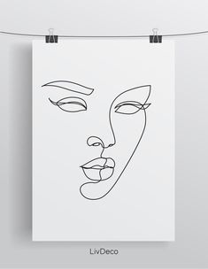 Abstract woman face wall print one line drawing art Face Line Drawing, Female Face Drawing, Single Line Drawing, Woman Drawing, Face Outline, Outline Drawings, Art Drawings, Drawing Art, Drawing Tips