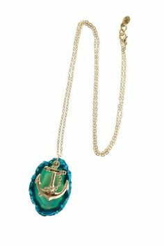 Agate + anchor necklace #jewelry_design #nautical