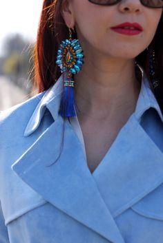 Light blue trench coat, luxury earings