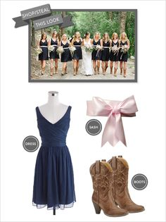 navy and pink bridesmaid dress (minus boots...) and possibly different color ribbon or no ribbon  @mssassc