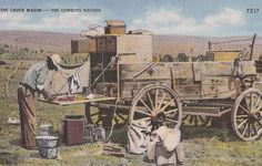 "The Chuck Wagon Cowboys - Kitchen Vintage Linen Postcard ""serves Plenty Of…"