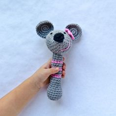 Mouse Rattle Crochet Pattern Crochet Mouse, Crochet Baby, Knit Crochet, Pet Toys, Baby Toys, Baby Shower Gifts, Baby Gifts, Z Craft, Baby Rattle