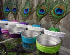 Peacock Party Favor Tins, Blue, Teal, Pink, Purple, Green or White Peacock Wedding Favors
