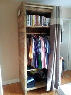 Pallet wardrobe made from 12 pallets approximatively and a bit of old MDF for 2/3s of back. An off cut of a curtain pole. Some interior wall recycled timbers from a house a builder I know was throwing out for frame. Loads of screws and a curtain the wife bought in a sale. It took about 32 hours alto…