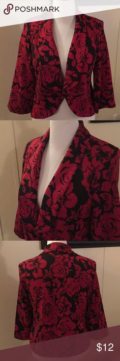 Vibrant knit over jacket. Women's size 16 beautiful jacket. Looks great with a black dress, skirt, dress up black jeans and a silky blouse. Super nice. R&K original Jackets & Coats Blazers