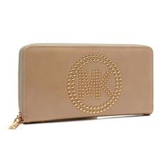 #Michael Kors People Especially Love The Michael Kors Fulton Stud Logo Large Apricot Wallets For Its New And Unique Style.