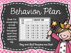 Behavior Plan for Off Task Behavior Freebie Set!