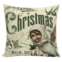 Christmas Pillow Vintage Angel French Style by ElliottHeathDesigns
