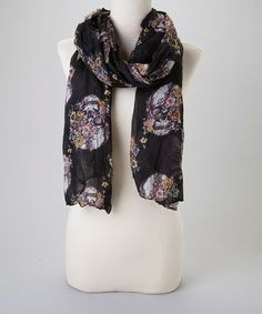 Loving this Black Floral Skull Scarf on #zulily! #zulilyfinds