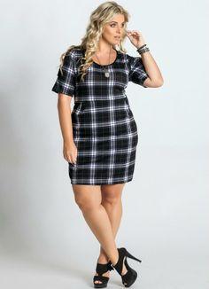 Vestido Detalhe Pregas Xadrez Plus Size - Posthaus