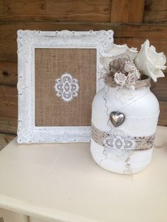 Lijst en Pot gerestyled. #foamroses #potten #glazenpotten #kant #homemade #selfmade #DIY #jutte #handmade