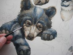 How to Paint the Illusion of Black! New Black Bear Cub Painting. Urso Bear, Create My Logo, Black Bear Cub, Bear Cubs, Bears, Watercolor Animals, Watercolour, Fall Deco, Fantasy Creatures