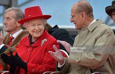 Britain's Queen Elizabeth II (L) and Prince Philip, Duke of Edinburgh (R)…