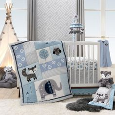 Shop for Lambs & Ivy Stay Wild Blue/Gray Woodland Animals Nursery Baby Crib Bedding Set. Get free delivery On EVERYTHING* Overstock - Your Online Baby Bedding Shop! Baby Crib Bumpers, Baby Crib Mobile, Crib Mattress, Crib Sheets, Baby Cribs, Blue Bedding Sets, Baby Crib Bedding Sets, Kohls Bedding, Elephant Crib Bedding