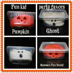 Momma's Fun World: Pumpkin/Ghost play-doh party favors