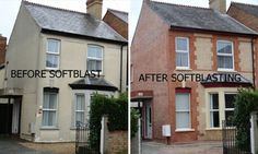 and after sandblasting a Victorian Terrace Victorian Windows, Victorian Terrace House, Victorian Homes, Terrace House Exterior, Pebble Dash, Property Development, House Front, Home Remodeling, Beautiful Homes