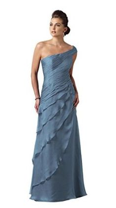 Montage 112910 One Shoulder Mother of the Bride Dress, Wedgewood Blue size 20W - Long A-Line Skirt, Chiffon