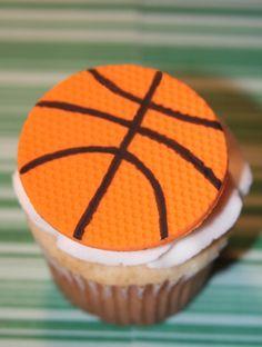 Fondant cupcake toppers Basketball.