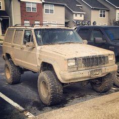 Mud jeep '96 Cherokee sport. His new mud toy.