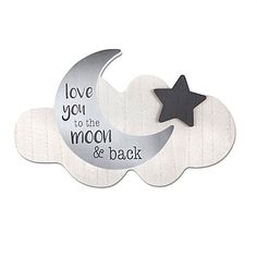 Add a cheery touch to your little one's room with the Love You to the Moon and Back Wood Wall Art from Wendy Bellissimo. Beautifully crafted in soft grey on wood, it's the perfect sentiment in a nursery at naptime and every night.