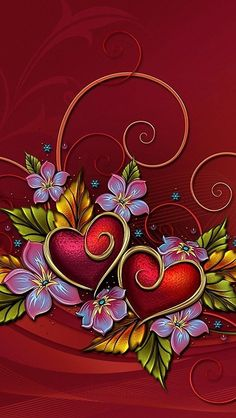Two red hearts on a vine Heart Wallpaper, Love Wallpaper, Cellphone Wallpaper, Wallpaper Backgrounds, Iphone Wallpaper, Colorful Wallpaper, Mobile Wallpaper, Pretty Wallpapers, Heart Art