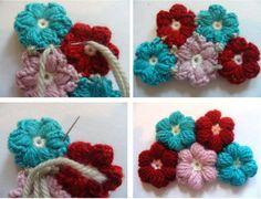 Puffy Цветочные вязание крючком Бесплатный шаблон