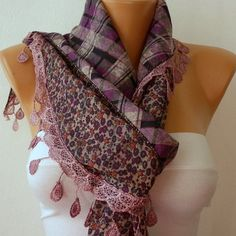 ON SALE - Women  Scarf -  Cowl with Lace - Multicolor, $15.30