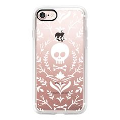 Floral White Halloween Fall Skull Feminine Transparent Case 013 -... ($40) ❤ liked on Polyvore featuring accessories, tech accessories, iphone case, floral iphone case, iphone cases, transparent iphone case, white iphone case and apple iphone cases