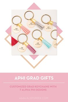 Celebrate your Alpha Phi Grad with these trendy custom keychains! Alpha Phi Grad Gift | APhi Sorority Grad Keychain | College Graduation Gift Idea | Grad Gift for Her | Grad Gift for Girlfriend | Grad Gift for Daughter | Grad Gifts for Best Friends | Best Grad Quotes | Graduation Tassel Keychains #HappyGraduation #SororityGrad Phi Sigma Sigma, Delta Phi Epsilon, Kappa Alpha Theta, Alpha Chi Omega, Delta Sorority, Tri Delta, Alpha Delta, Delta Gamma, College Sorority