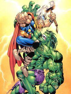 Thor vs Hulk by Salvador Larroca